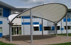 Tensile Fabric Structure Manufacturer In Delhi… Plaza Design, Membrane Structure, Tensile Structures, Outdoor Stage, Fabric Structure, Fabric Canopy, Parametric Design, Building Facade, Gazebo
