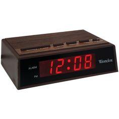 Westclox(R) 22690 Retro Wood Grain LED Alarm Clock Specifications: Travel Alarm Clock, Radio Alarm Clock, Tabletop Clocks, Wood Clocks, Desktop Clock, Stainless Steel Table, Clocks For Sale, Eclectic Decor, Digital Alarm Clock