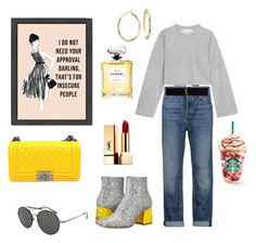 """""""Yellow 🌞🌞"""" by ferrerofrancy ❤ liked on Polyvore featuring Chiara Ferragni, T By Alexander Wang, Alexander Wang, Chanel, Tom Ford, Yves Saint Laurent and Blue Nile"""