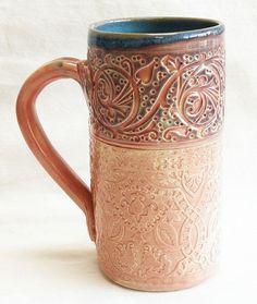 Floral ceramic coffee mug 20oz stoneware 20D078