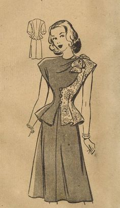 1940s Mail Order 3805 FF Vintage Sewing Pattern by midvalecottage,: