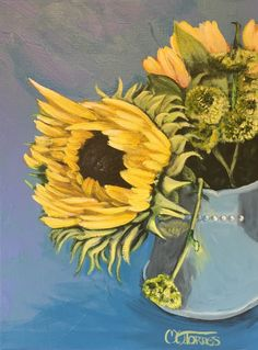 A personal favorite from my Etsy shop https://www.etsy.com/listing/246859227/sunflower-acrylic-painting