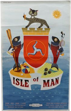 Daphne Padden Isle of Man British Railways poster - Manx cat included!