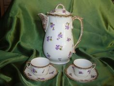 Limoges Handpainted Violet Coffee &/or Chocolate Pot Set, w/2 Cups, saucers.Estimated 1900's-1910, Mark of Klingenberg & Dwenger.C@cecione50 eBay