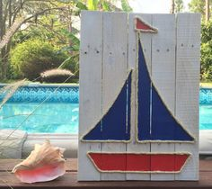 Handmade Sailboat with Rope Beach Pallet art by BeachByDesignCo