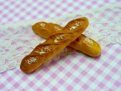 2 Pcs Baguette Bread Loaf Cabochons, Food Miniature - 50x10mm by forestdiy on Etsy