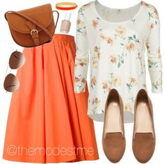 Orange with Floral by themodestme on Polyvore featuring polyvore, fashion, style, O'Neill, Carven, H&M, Halcyon Days, Eloquii and Essie