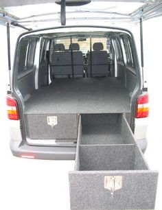 Car Consoles & Storage Drawers - Department of the Interior - overhead… Van Storage, Built In Storage, Storage Drawers, Vw T5 Interior, Van Racking, Van Bed, Camping Box, Car Console, Day Van