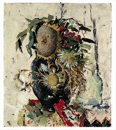 Sonnenblume, Disteln und Vogelbeeren in einer Vase par Anton Lutz