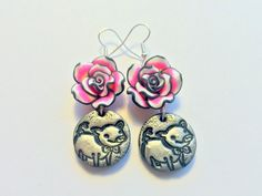 Pretty Black and Pink Piglet and Roses Handmade Polymer Clay Earrings by PennysLane on Etsy