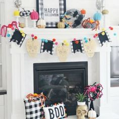 Who said Halloween decor had to be black, orange and spooky? Jamie of decorated her Halloween mantle with bold pops of color and we love it! Shop this look and bring some color to your Halloween decor! Modern Halloween Decor, Halloween Mantel, Diy Halloween Decorations, Halloween House, Fall Halloween, Halloween Crafts, Happy Halloween, Holiday Decorations, Halloween Party