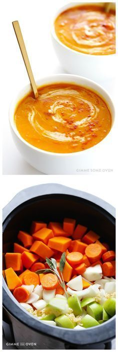 Slow Cooker Butternut Squash Soup -- easy to make, naturally vegan and gluten-free, and SUPER good! | http://gimmesomeoven.com