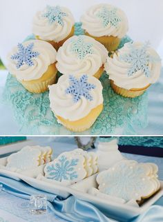 frozen themed snowflake cupcakes and cookies