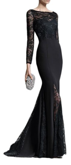 Mermaid Long Sleeves Floor Length Lace Jersey Black Long Mother of the Bride Dresses Formal Gown 11053 Custom Order #macloth #promdress #promgown #prom2017 #evening #gown #wedding #dress