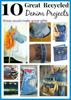 Don't let your old jeans go to waste! Make something cool out of them. Here are 10 ways to upcycle old jeans and all of them would make great presents! I hope this round up of jean recycling ideas inspires you! Here are two presents you can make – a super cute apron and a garden tool caddy! via Fiskars Another great gift idea – a denim hat can be worn by a boy or a girl. via Michele Made Me This cute stick horse is a really easy toy to make! via Utopia Rose This is a good…