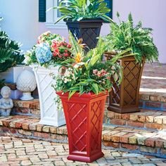 Amp up your outdoor decor with a beautiful, lattice-design planter. These outdoor planters are available in 4 stylish colors and are self watering to make your life easier.