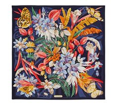 Salvatore Ferragamo Blue Multicolor Butterfly Flora Silk Scarf/Wrap off retail Textiles, Salvatore Ferragamo, Vintage Scarf, Vintage Hats, Scarf Design, Floral Scarf, Silk Scarves, Printed Scarves, Silk Painting