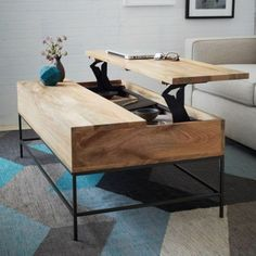 Multitasking furniture perfect for small spaces: Rustic Storage Coffee Table - Raw Mango Compact Furniture, Space Saving Furniture, Cool Furniture, Living Room Furniture, Modern Furniture, Living Room Decor, Furniture Design, Furniture Ideas, Office Furniture