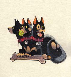 Inktober day 31- Cerberus! Happy halloween! : D