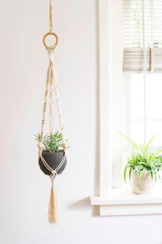 Macrame Plant Hanger / 32 Inch / 1/8 inch Braided Cotton Cord