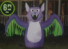 Halloween Gemmy Airblown Inflatable Animated Moving Wings Bat Figure Yard Prop 6 | eBay