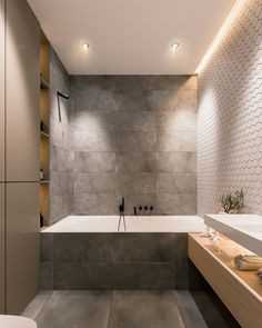 53 modern bathroom decor ideas match with your home design style page 42 Contemporary Bathroom Designs, Contemporary Apartment, Modern Bathroom Decor, Bathroom Interior Design, Home Interior, Small Bathroom, Bathroom Ideas, Bathroom Scales, Modern Bathrooms