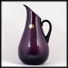 Pilgrim Amethyst Crackle Glass Pitcher Hand Blown Vintage Mid Century Art Glass