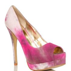 """Pink Tie Dye Pumps - NWT!!!! PRICE REDUCEDFuchsia/Pink, Taupe, and white  tie-dyed jersey material peep toe pumps. Has a double platform and sexy stiletto. BRAND NEW STILL IN BOX!! Comes with drawstring shoe dust bag!:) Shoe Details: Approx. Heel Height: 5 1/2"""" Approx. Platform Height: 1"""" Runs 1/2 Size Big Synthetic Upper Man Made Sole C Label Shoes Platforms"""