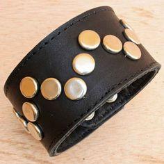 Black Leather Rivet Bracelet for Men