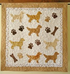 Golden Retrievers quilt throw size    54 x 54 by doodlebugquilts (Home & Living, Bedding, Blankets & Throws, Quilts, lap quilt, dog, handmade, quilting, throw, paw prints, doggy words, bow wow, dog bones, brown, pet lover, golden retriever, retriever)