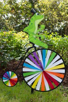Frog High Wheel Bike Spinner by Premier Kites #Frog #Bicycle #Spinner #Garden #Hat #TopHat #Bike #PennyFarthing