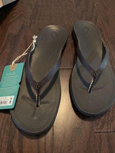 43531b9980b9c1 Olukai Womens NEW! Size 9 Hoopio Leather Flip Flops Dark Java  fashion   clothing