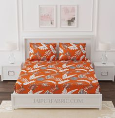 Bright Orange Foliage King Size Bedsheet King Size Bed Sheets, Cover Size, Good Sleep, Pillow Covers, Colours, Bright, Pure Products, Orange, Furniture