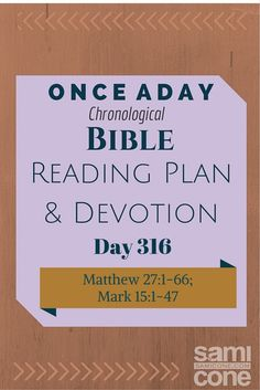 Once A Day Bible Reading Plan & Devotion Day 316