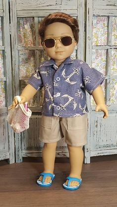 Choose a blue shirt or tan , both with fun anchor print. Mix or match a short and your guy will be ready for summer fun. Listing is for one shirt and shorts. My American Girl Doll, American Girl Crafts, American Doll Clothes, Club Outfits For Women, Summer Outfits Women, First Date Outfits, Boy Outfits, Modern Fashion Outfits, Fashion Ideas