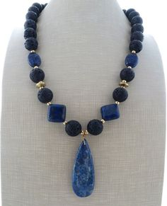 Blue lapis lazuli necklace, black lava necklace, big bold necklace, chunky necklace, beaded necklace, gemstone choker, lava rock jewelry by Sofiasbijoux on Etsy