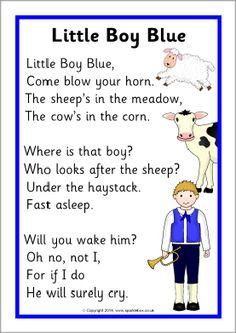 Little Boy Blue rhyme sheet - SparkleBox Nursery Rhythm, Nursery Rhymes Lyrics, Nursery Rhymes Preschool, Nursery Rhyme Theme, Nursery Songs, Nursery Stories, Songs For Toddlers, Kids Songs, Baby Songs