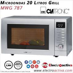 ¡Sencillo,completo y potente! Microondas CLATRONIC MWG 787 http://www.electroactiva.com/clatronic-microondas-20-litros-grill-mwg787-plata.html #Elmejorprecio #Microondas #Electrodomesticos #PymesUnidas