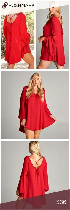 Red Dress With Criss-Cross Tie In Back Red dress with bell sleeves and criss-cross tie in back, hi-low hemline. Dresses