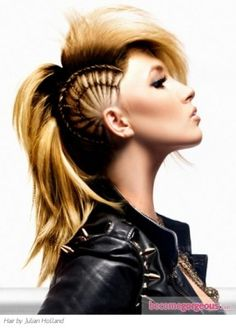 Blond Punk Mohawk with Braid
