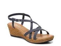 Italian Shoemakers Strappy Fabric Wedge Sandal