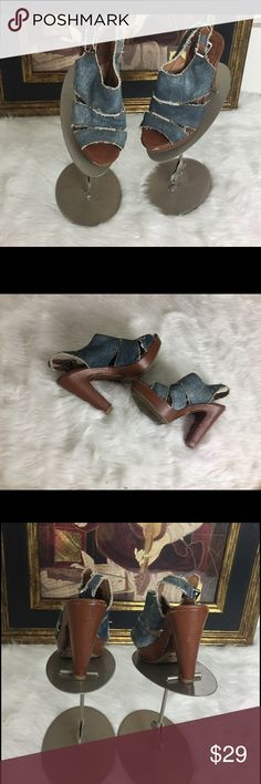 "Lucky Brand Jean Sandals .  Sz 5.5 Check out these Lucky Brand Sandals.  Sz 5.5. Heel height 4.5"". Platform 1"". In good shape. Lucky Brand Shoes Heels"
