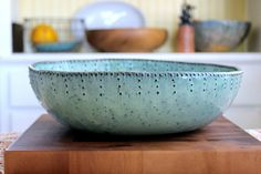 Extra Large Stoneware Serving Bowl  Aqua Mist por BackBayPottery, $128.00