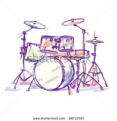 stock photo : colorful drum drawing