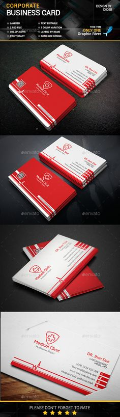 Business Card For Doctor Template PSD #design Download: http://graphicriver.net/item/business-card-for-doctor/14164731?ref=ksioks