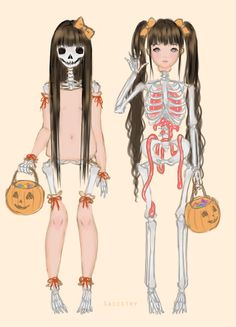 saccstry:  2 skeletons trick or treating in their skin costumes