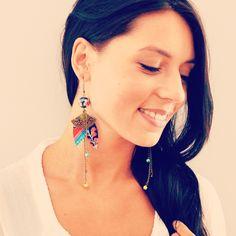 Boucles d'oreille textiles japonaises, éventails et tissus japonais bleus et jaunes. : Boucles d'oreille par mes-tites-lilis