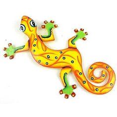 Eight Inch Sunshine Yellow Metal Gecko - Caribbean Craft