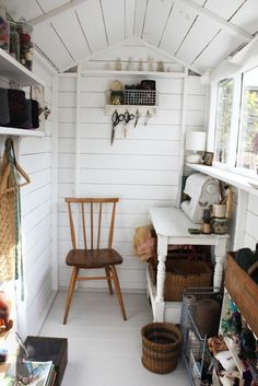 Tiny sewing room.  Would be good to combine with laundry room