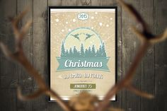 Retro Christmas Party Flyer PSD by shaman on @creativemarket